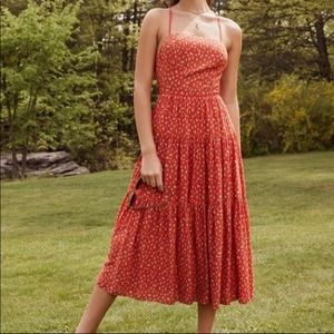 Free People Floral Red Maxi Dress Tie Back